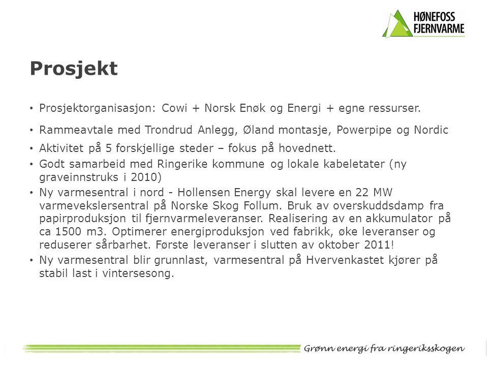 Prosjekt Prosjektorganisasjon: Cowi + Norsk Enøk og Energi + egne ressurser. Rammeavtale med Trondrud Anlegg, Øland montasje, Powerpipe og Nordic.