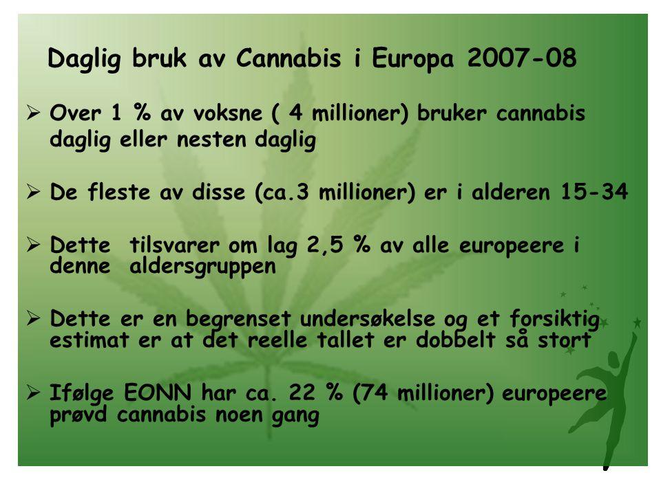 Daglig bruk av Cannabis i Europa 2007-08