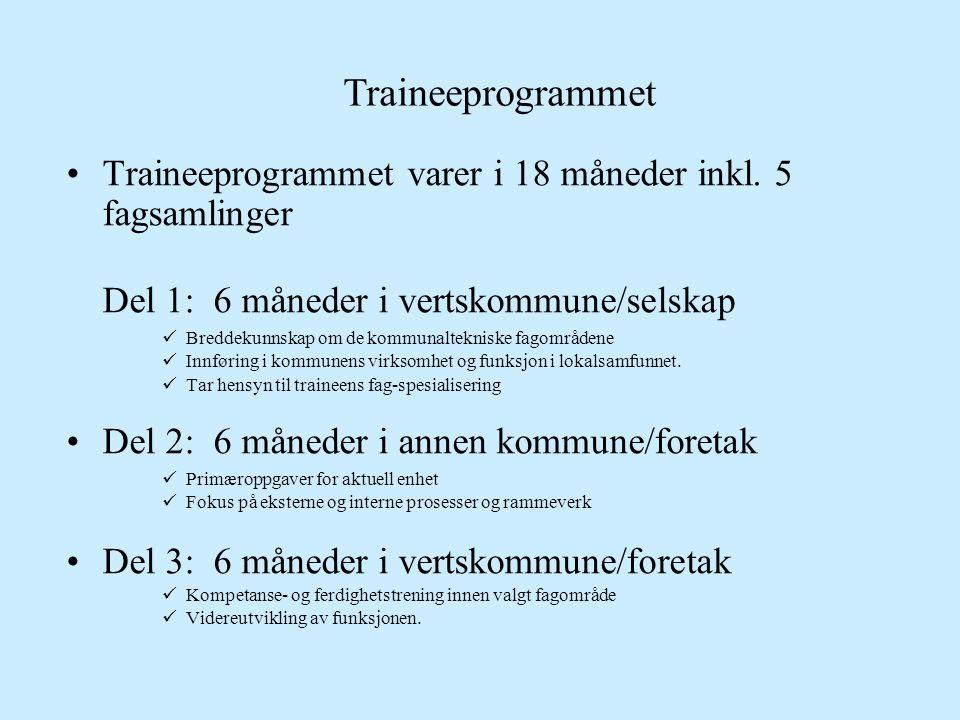 Traineeprogrammet Traineeprogrammet varer i 18 måneder inkl. 5 fagsamlinger. Del 1: 6 måneder i vertskommune/selskap.