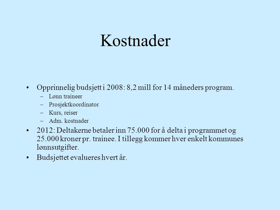Kostnader Opprinnelig budsjett i 2008: 8,2 mill for 14 måneders program. Lønn traineer. Prosjektkoordinator.