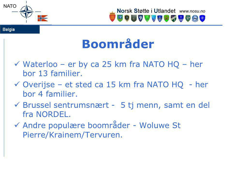 Boområder Waterloo – er by ca 25 km fra NATO HQ – her bor 13 familier.