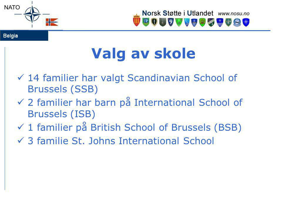 Valg av skole 14 familier har valgt Scandinavian School of Brussels (SSB) 2 familier har barn på International School of Brussels (ISB)