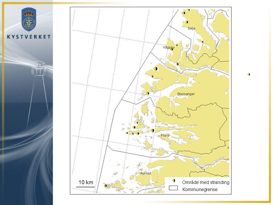 10 km Område med stranding Kommunegrense