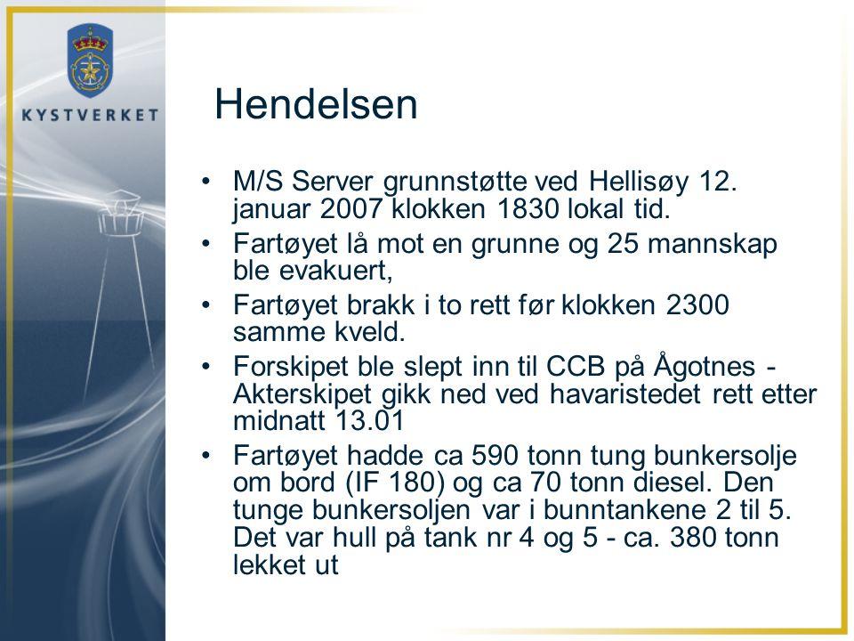 Hendelsen M/S Server grunnstøtte ved Hellisøy 12. januar 2007 klokken 1830 lokal tid. Fartøyet lå mot en grunne og 25 mannskap ble evakuert,