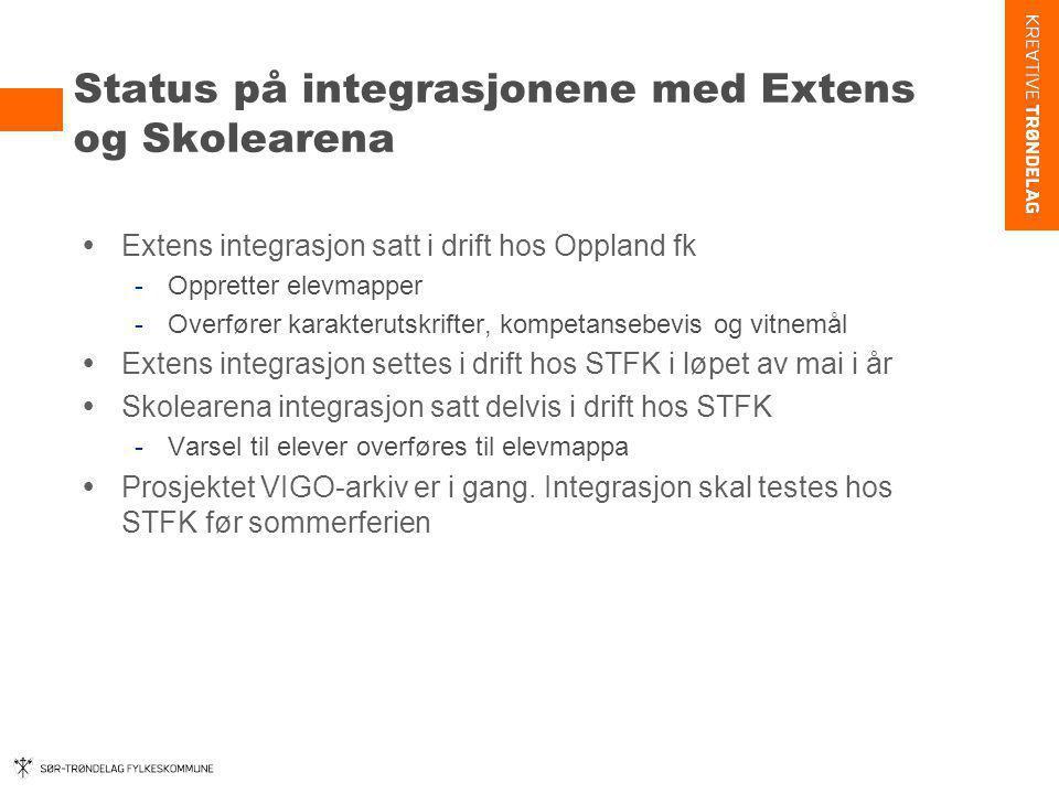Status på integrasjonene med Extens og Skolearena