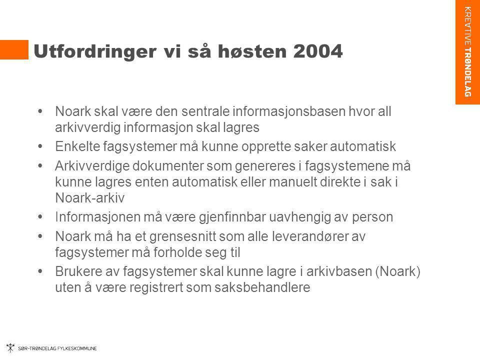 Utfordringer vi så høsten 2004