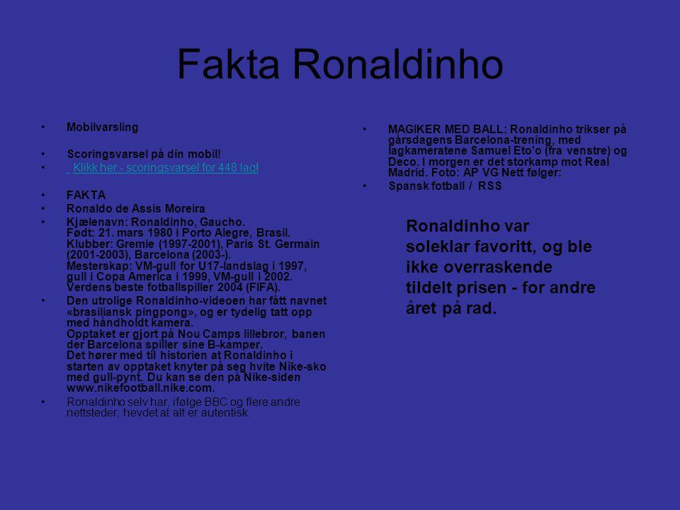Fakta Ronaldinho Mobilvarsling. Scoringsvarsel på din mobil! Klikk her - scoringsvarsel for 448 lag!