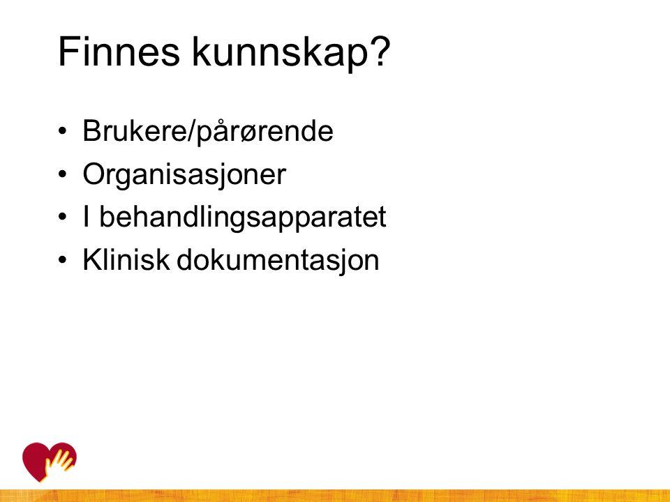 Finnes kunnskap Brukere/pårørende Organisasjoner
