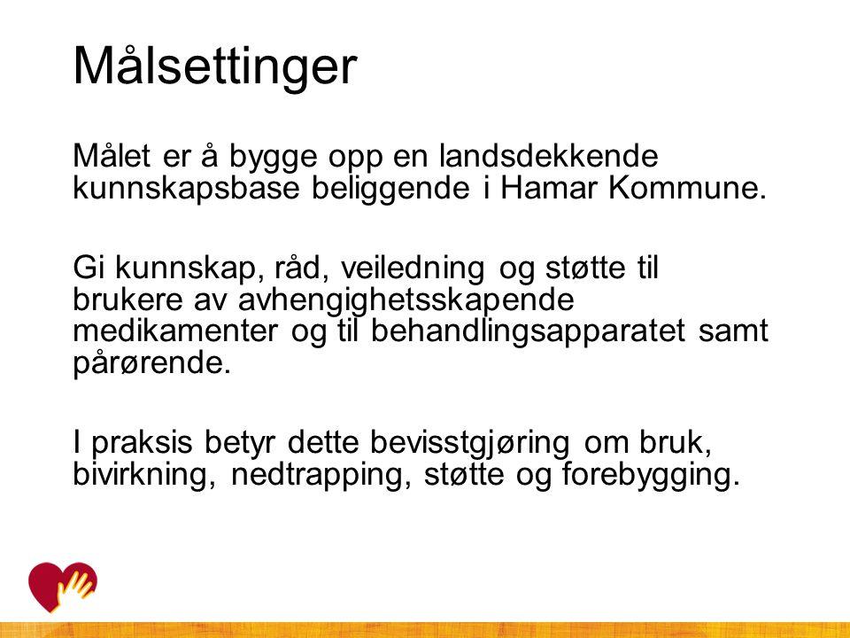 Målsettinger Målet er å bygge opp en landsdekkende kunnskapsbase beliggende i Hamar Kommune.