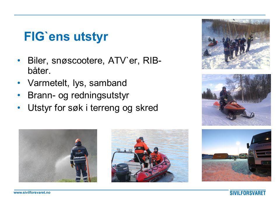 FIG`ens utstyr Biler, snøscootere, ATV`er, RIB-båter.