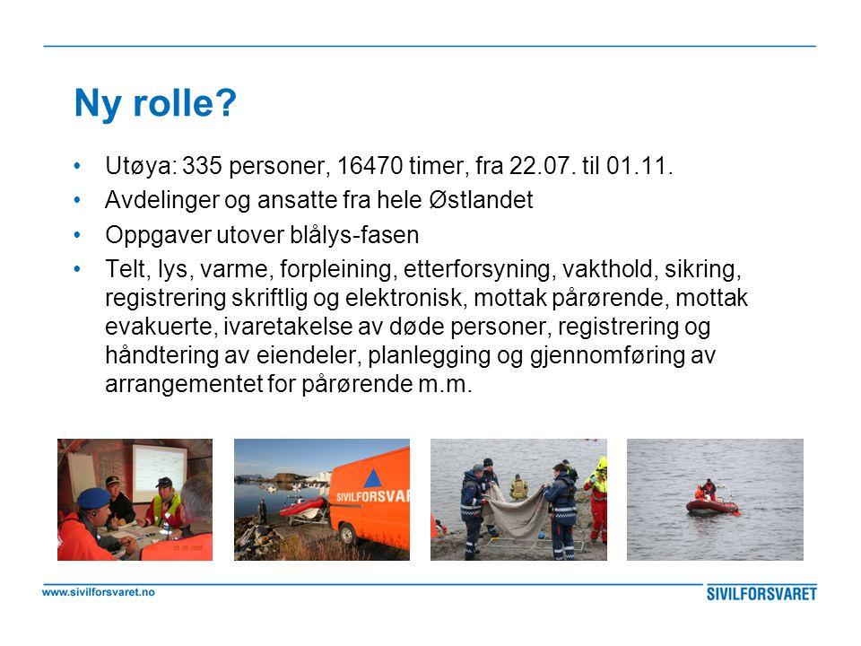 Ny rolle Utøya: 335 personer, 16470 timer, fra 22.07. til 01.11.
