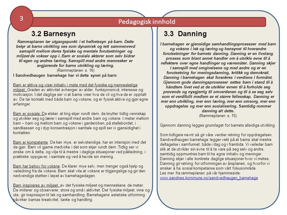 3 Pedagogisk innhold 3.3 Danning 3.2 Barnesyn