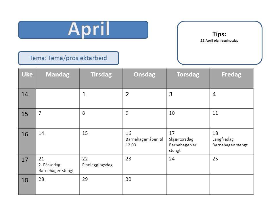 April Tips: Tema: Tema/prosjektarbeid Uke Mandag Tirsdag Onsdag
