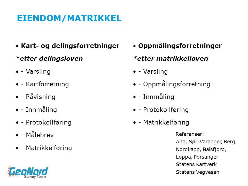 EIENDOM/MATRIKKEL Kart- og delingsforretninger *etter delingsloven