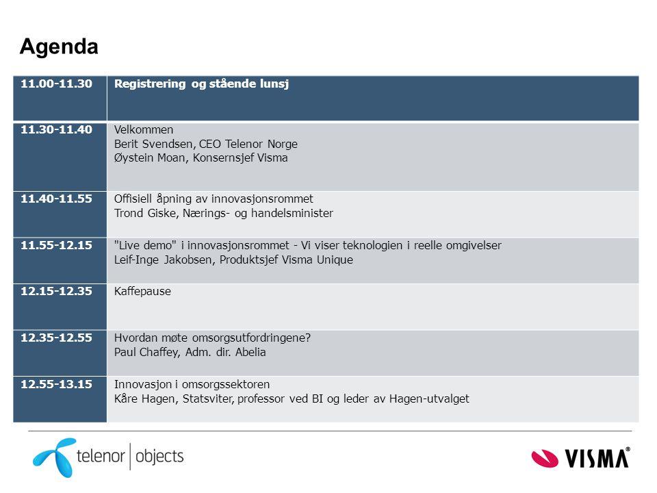Agenda 11.00-11.30 Registrering og stående lunsj 11.30-11.40