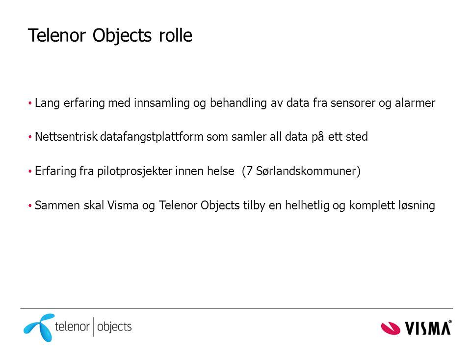 Telenor Objects rolle Lang erfaring med innsamling og behandling av data fra sensorer og alarmer.