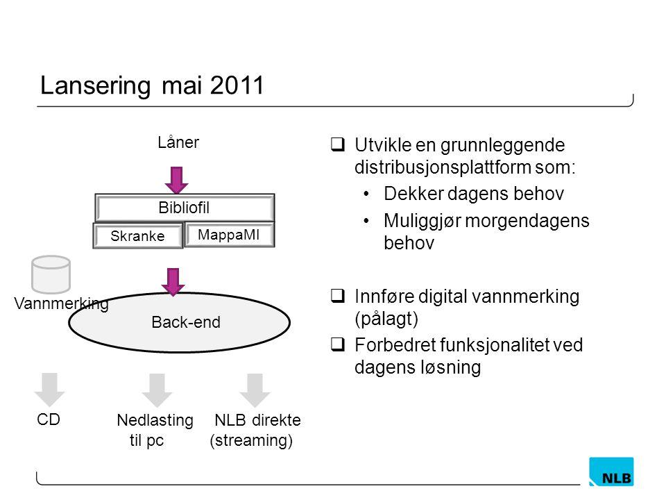 Lansering mai 2011 Utvikle en grunnleggende distribusjonsplattform som: Dekker dagens behov. Muliggjør morgendagens behov.