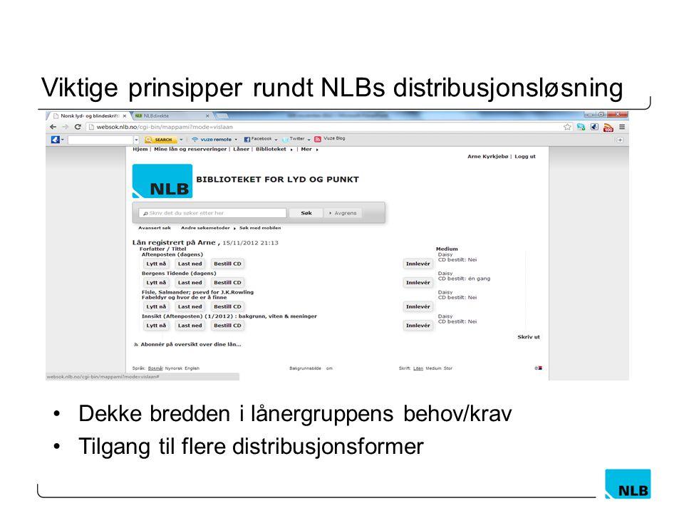 Viktige prinsipper rundt NLBs distribusjonsløsning