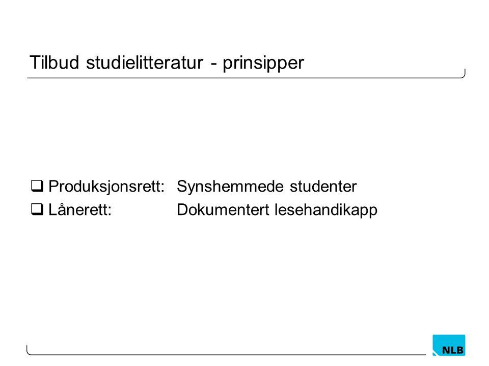 Tilbud studielitteratur - prinsipper