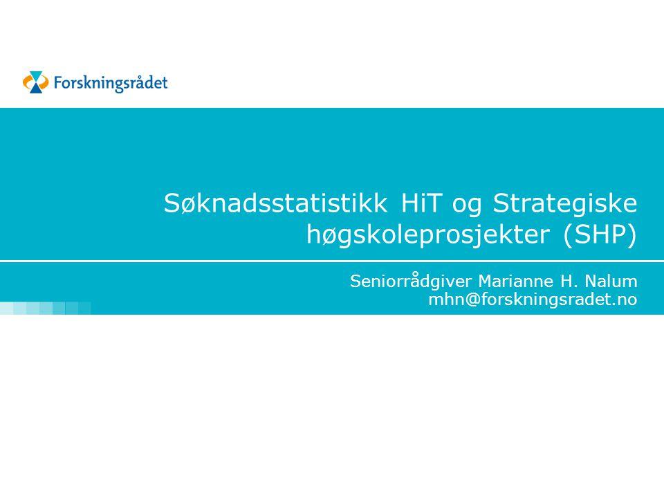 Søknadsstatistikk HiT og Strategiske høgskoleprosjekter (SHP)