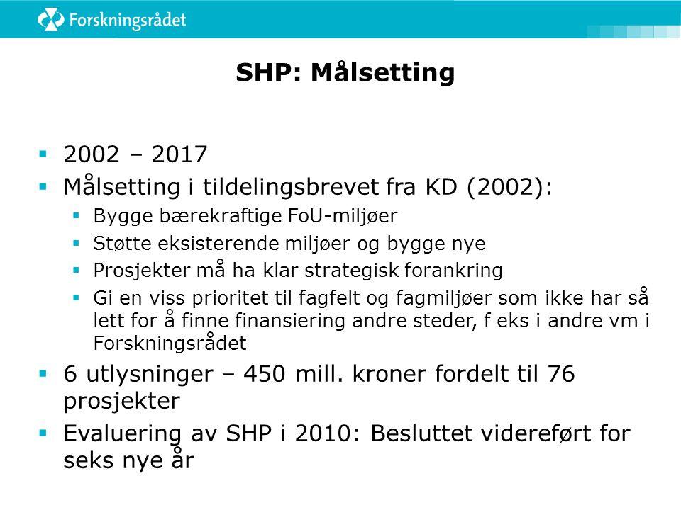 SHP: Målsetting 2002 – 2017. Målsetting i tildelingsbrevet fra KD (2002): Bygge bærekraftige FoU-miljøer.