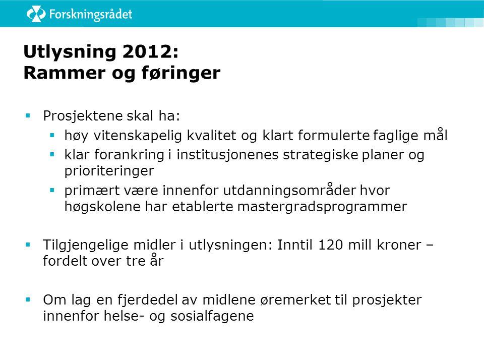 Utlysning 2012: Rammer og føringer