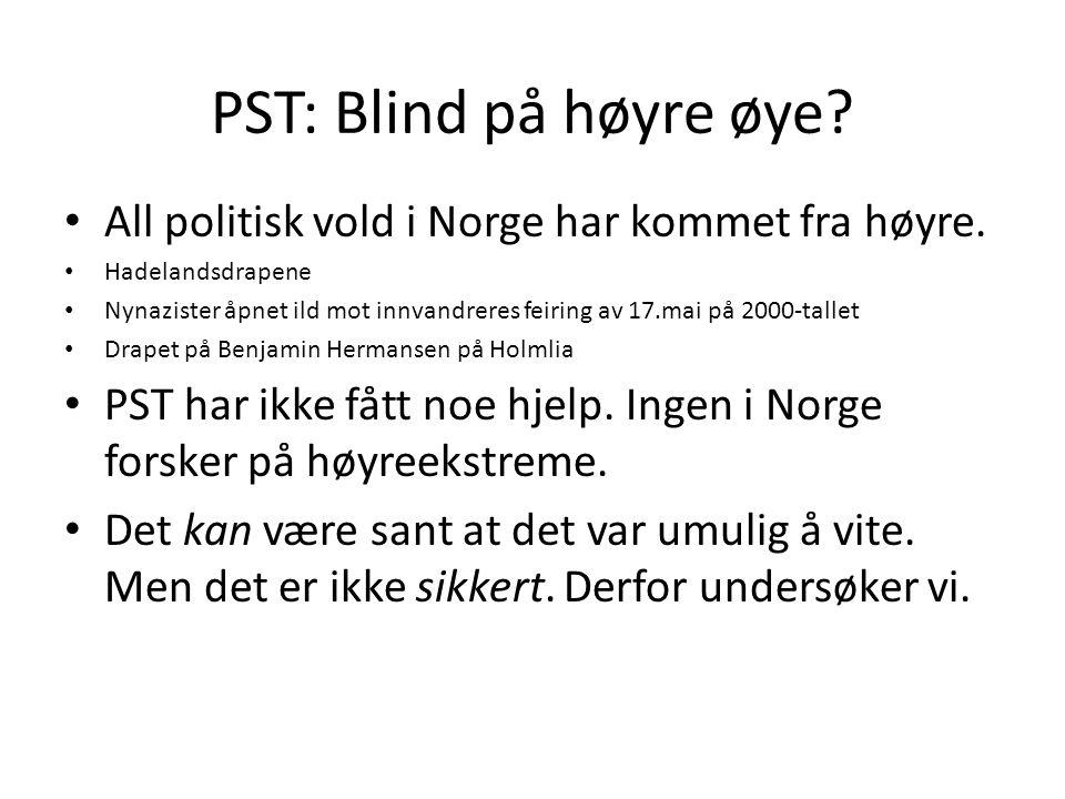 PST: Blind på høyre øye All politisk vold i Norge har kommet fra høyre. Hadelandsdrapene.