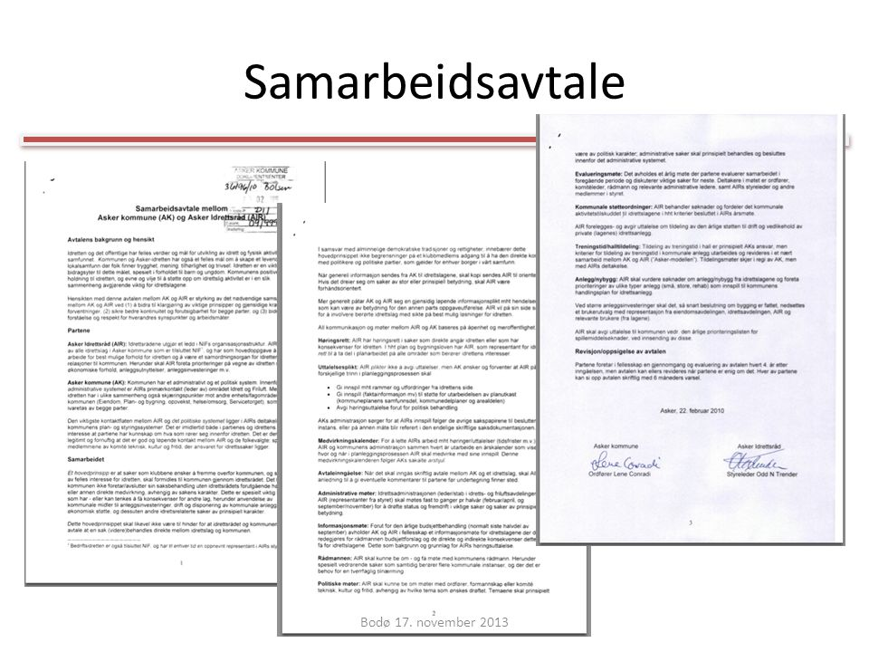 Samarbeidsavtale Bodø 17. november 2013