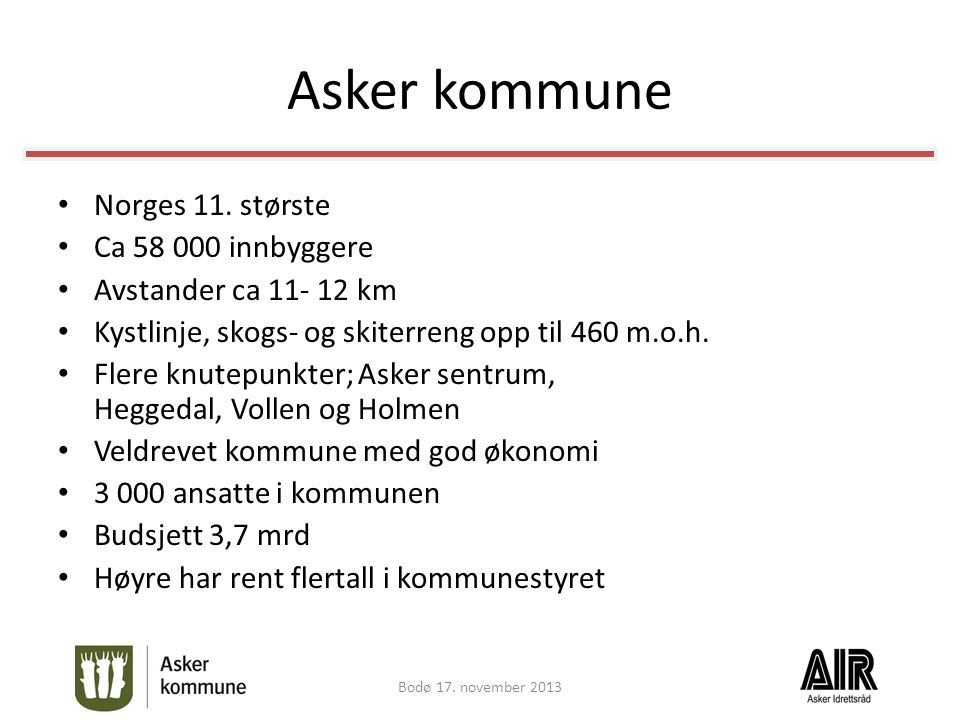 Asker kommune Norges 11. største Ca 58 000 innbyggere