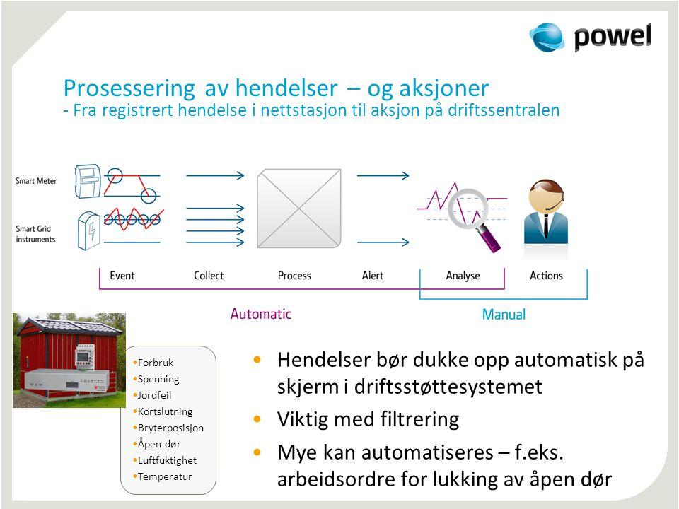Prosessering av hendelser – og aksjoner - Fra registrert hendelse i nettstasjon til aksjon på driftssentralen