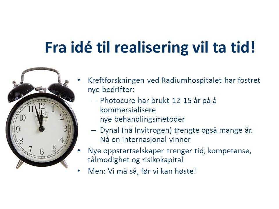 Fra idé til realisering vil ta tid!