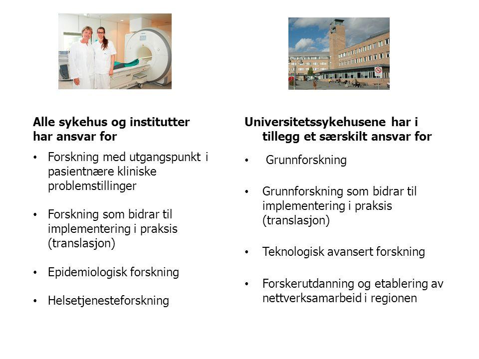 Alle sykehus og institutter har ansvar for