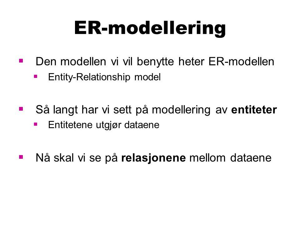 ER-modellering Den modellen vi vil benytte heter ER-modellen
