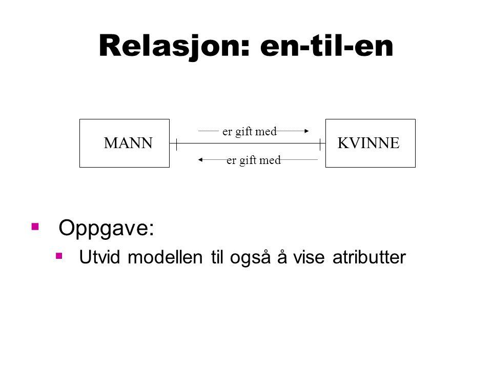Relasjon: en-til-en Oppgave: Utvid modellen til også å vise atributter