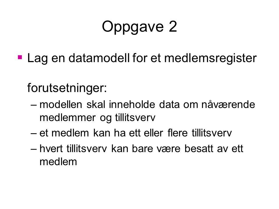 Oppgave 2 Lag en datamodell for et medlemsregister forutsetninger: