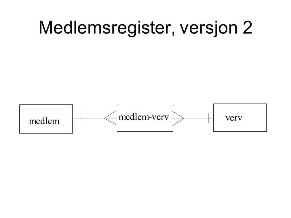 Medlemsregister, versjon 2