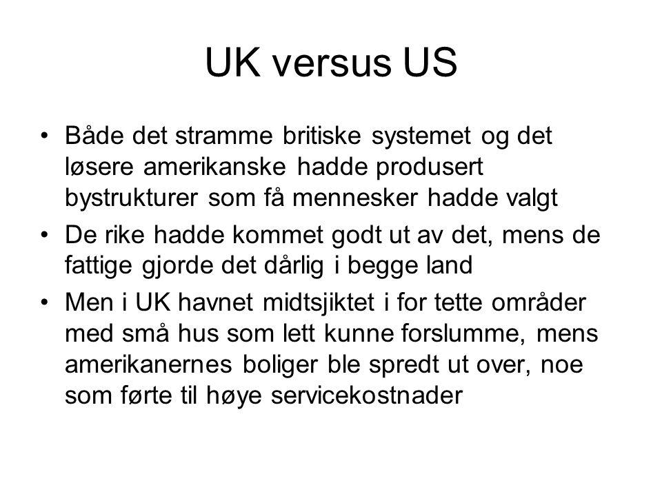 UK versus US Både det stramme britiske systemet og det løsere amerikanske hadde produsert bystrukturer som få mennesker hadde valgt.