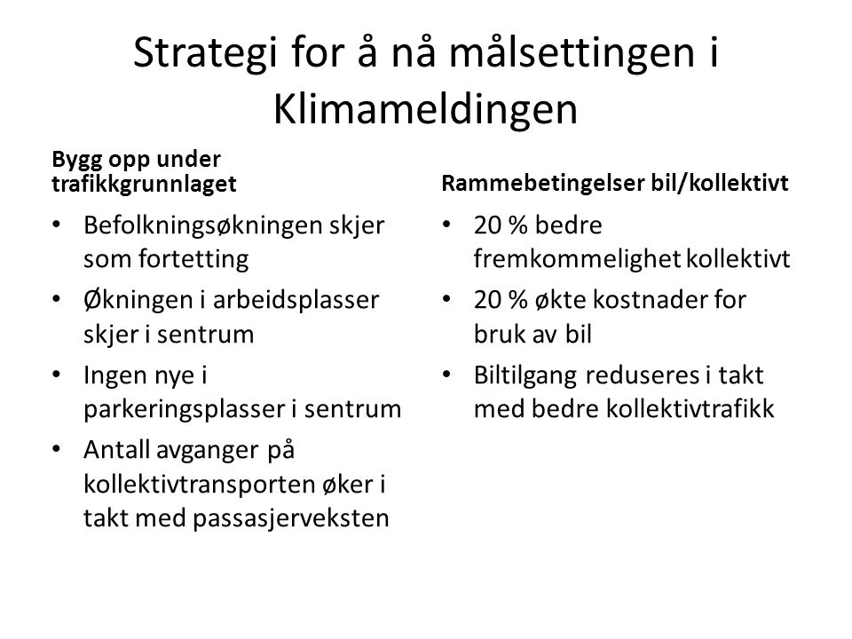 Strategi for å nå målsettingen i Klimameldingen