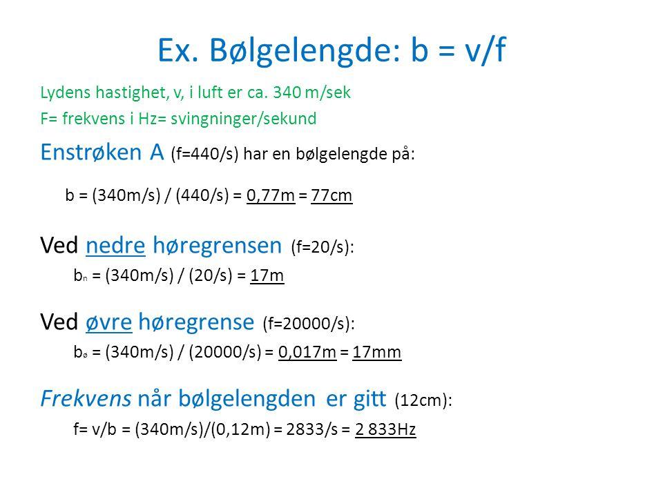 Ex. Bølgelengde: b = v/f b = (340m/s) / (440/s) = 0,77m = 77cm