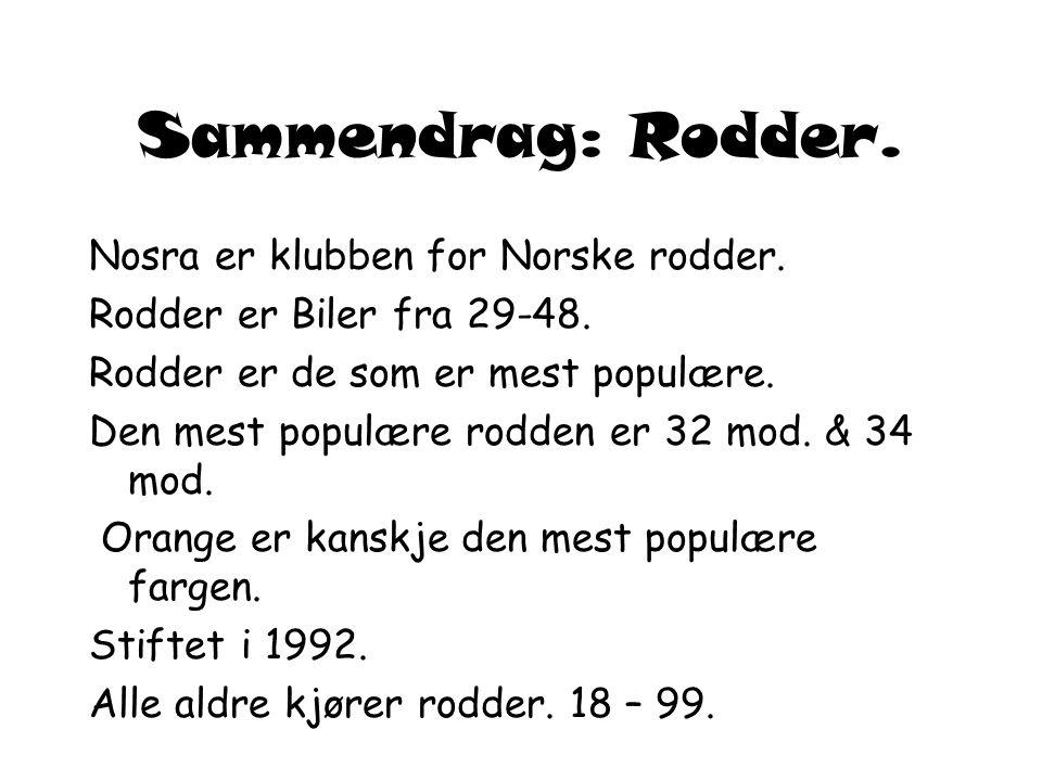 Sammendrag: Rodder. Nosra er klubben for Norske rodder.