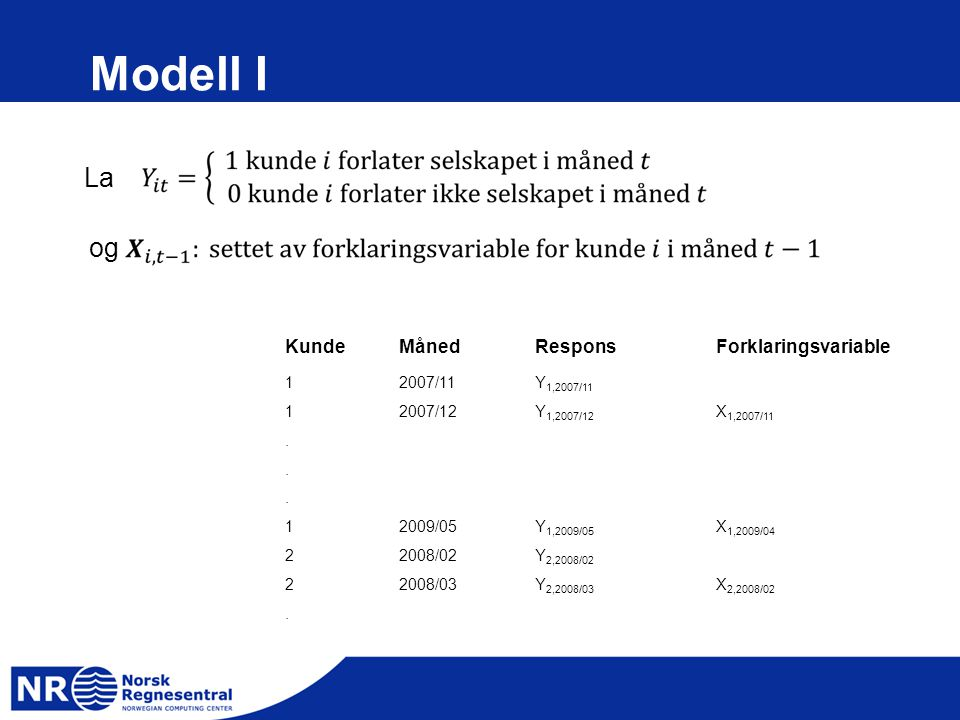 Modell I La og Kunde Måned Respons Forklaringsvariable 1 2007/11