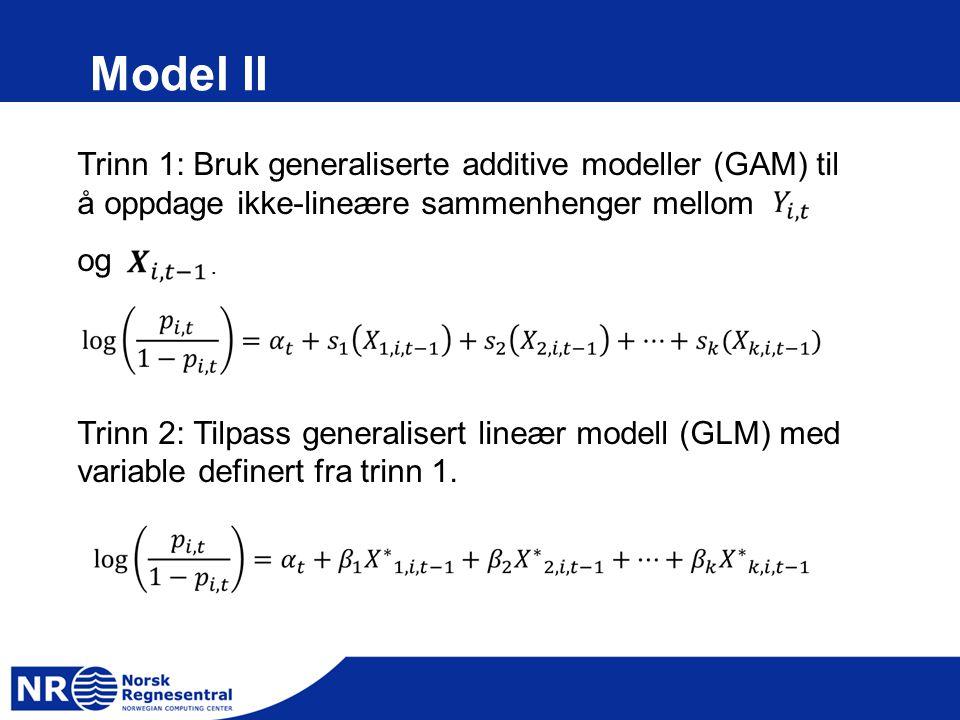Model II Trinn 1: Bruk generaliserte additive modeller (GAM) til å oppdage ikke-lineære sammenhenger mellom.