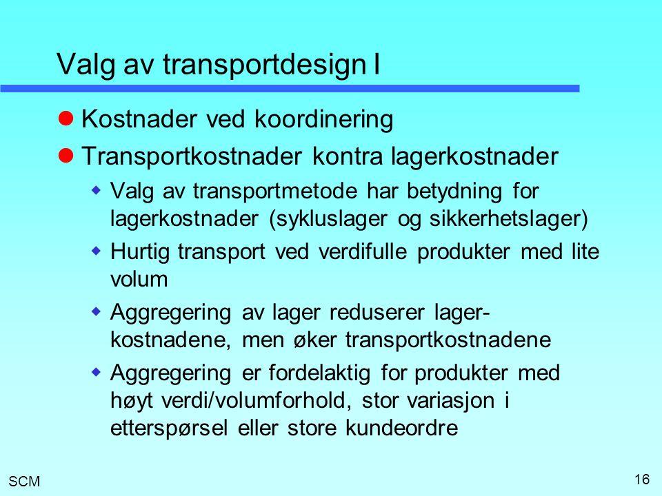 Valg av transportdesign I