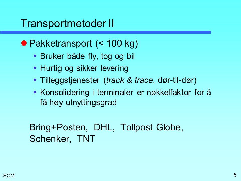 Transportmetoder II Pakketransport (< 100 kg)