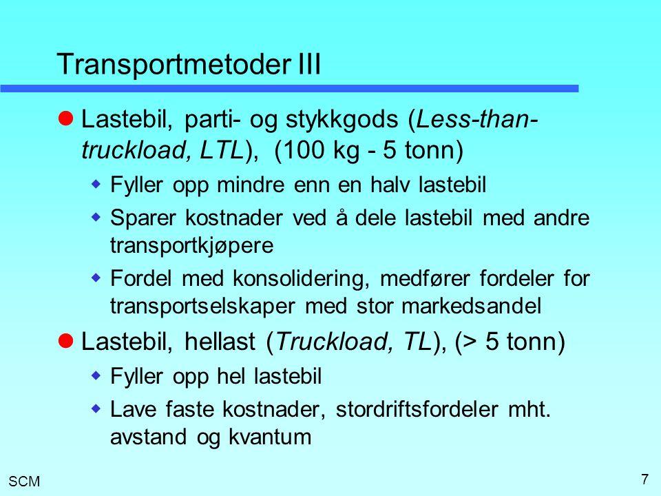 Transportmetoder III Lastebil, parti- og stykkgods (Less-than-truckload, LTL), (100 kg - 5 tonn) Fyller opp mindre enn en halv lastebil.