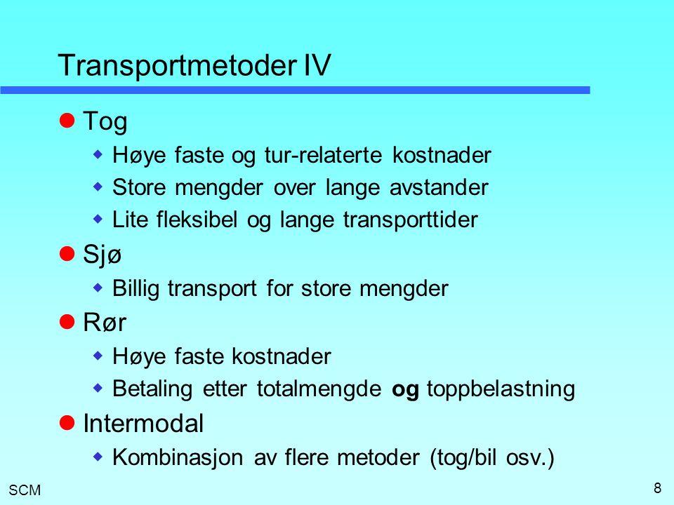 Transportmetoder IV Tog Sjø Rør Intermodal