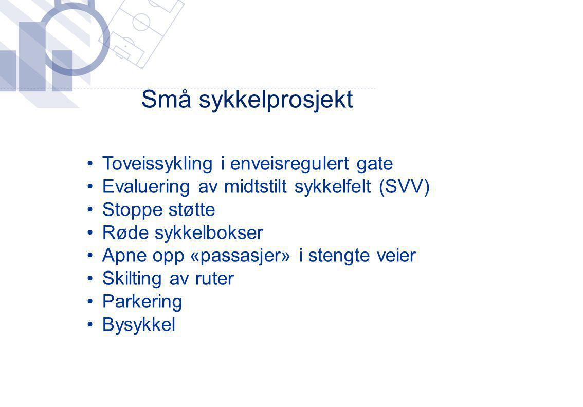 Små sykkelprosjekt Toveissykling i enveisregulert gate