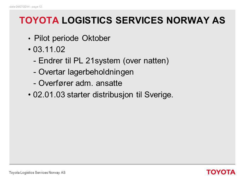 TOYOTA LOGISTICS SERVICES NORWAY AS