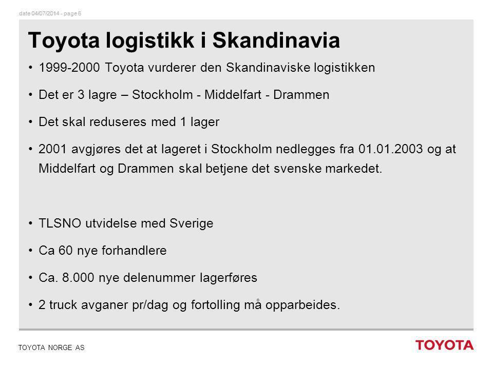 Toyota logistikk i Skandinavia