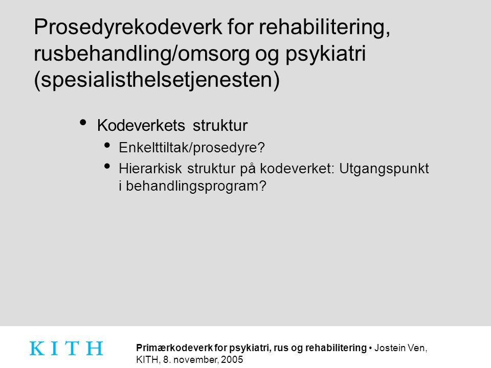 Prosedyrekodeverk for rehabilitering, rusbehandling/omsorg og psykiatri (spesialisthelsetjenesten)